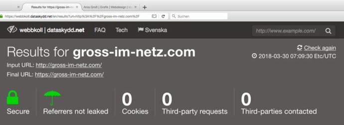 Screenshot einer Website, auf der man den Datenschutz überprüfen kann. Alles okay.